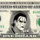 STING on REAL Dollar Bill WWE Wrestler Cash Money Memorabilia Celebrity Bank