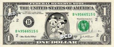 MICKEY & MINNIE MOUSE Christmas - REAL Dollar Bill Disney Cash Money Memorabilia