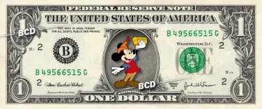MICKEY MOUSE Beanstock on REAL Dollar Bill Disney Cash Money Memorabilia