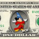 MICKEY MOUSE Fantasia on REAL Dollar Bill Disney Cash Money Memorabilia