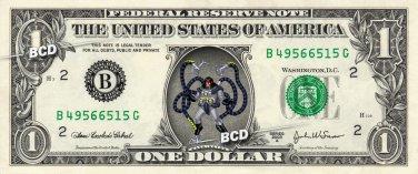 DOCTOR OCTOPUS on REAL Dollar Bill Marvel Disney Cash Money Memorabilia