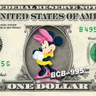MINNIE MOUSE on REAL Dollar Bill Disney Cash Money Memorabilia Collectible #1