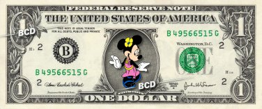 MINNIE MOUSE on REAL Dollar Bill Disney Cash Money Memorabilia Collectible #2