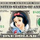 SNOW WHITE on REAL Dollar Bill Disney Cash Money Memorabilia Collectible Celebrity