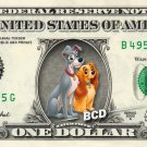 LADY & THE TRAMP on REAL Dollar Bill Disney Cash Money Memorabilia Collectible 2
