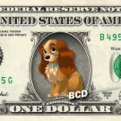 LADY & THE TRAMP on REAL Dollar Bill Disney Cash Money Memorabilia Collectible