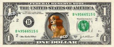 LADY & THE TRAMP on REAL Dollar Bill Disney Cash Money Memorabilia Collectible