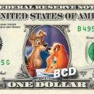 LADY & THE TRAMP on REAL Dollar Bill Disney Cash Money Memorabilia Collectible 3