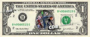 A NIGHTMARE BEFORE CHRISTMAS - REAL Dollar Bill Disney Cash Money Memorabilia