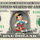 PINOCCHIO $ REAL Dollar Bill Disney Cash Money Memorabilia Collectible Celebrity
