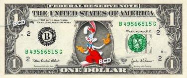 Who framed ROGER RABBIT on REAL Dollar Bill Disney Cash Money Memorabilia