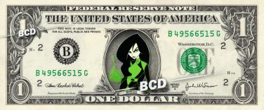 SHEGO Kim Possible on REAL Dollar Bill Disney Cash Money Memorabilia Collectible
