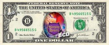 SLEEPING BEAUTY Movie REAL Dollar Bill Disney Cash Money Memorabilia Collectible