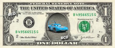 THE KING - Cars - REAL Dollar Bill Disney Cash Money Memorabilia Collectible