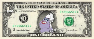 URSULA - Little Mermaid - REAL Dollar Bill Disney Cash Money Memorabilia Bank