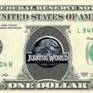 JURASSIC WORLD Movie Logo on REAL Dollar Bill Collectible Celebrity Cash Bank