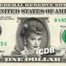 LUCILLE BALL on REAL Dollar Bill I Love Lucy Cash Money Memorabilia Collectible