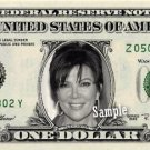 KRIS JENNER on a REAL Dollar Bill Kardashian Collectible Cash Memorabilia Money