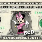 MINNIE MOUSE on REAL Dollar Bill Disney Collectible Celebrity Cash Memorabilia