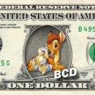 BAMBI & THUMPER on a REAL Dollar Bill Disney Cash Money Memorabilia Collectible