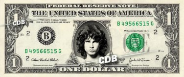 JIM MORRISON on a REAL Dollar Bill Cash Money Memorabilia Collectible Celebrity