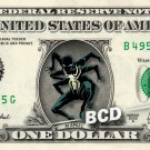 AI APAEC Dark Spiderman on REAL Dollar Bill Marvel Disney Cash Money Memorabilia