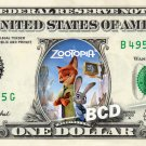ZOOTOPIA Movie on REAL Dollar Bill Cash Money Memorabilia Collectible Celebrity