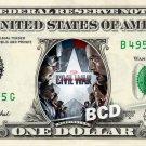 CAPTAIN AMERICA CIVIL WAR Movie on a REAL Dollar Bill Marvel Disney Cash Money
