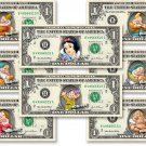 Snow White & Seven Dwarfs Dollar Bill Set Include 9 Money & Evil Witch Currency