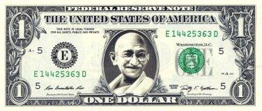 GANDHI on a REAL Dollar Bill Cash Money Memorabilia Collectible Celebrity Bank