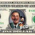 Walt Disney & Mickey on a REAL Dollar Bill Cash Money Memorabilia Collectible $