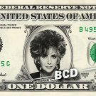 ELIZABETH TAYLOR on REAL Dollar Bill Cash Money Memorabilia Celebrity Bank Note