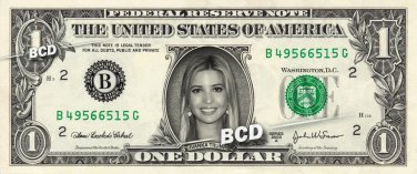 IVANKA TRUMP on a REAL Dollar Bill Cash Money Collectible Memorabilia Celebrity