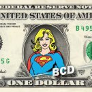 SUPERGIRL on REAL Dollar Bill Cash Money DC Comics Collectible Memorabilia Bank