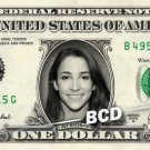 ALY RAISMAN Rio Olympics Gold Medal on a REAL Dollar Bill Cash Money Collectible