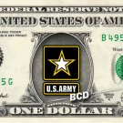 ARMY on REAL Dollar Bill Cash Money Collectible Military Badge Logo Memorabilia