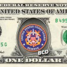 COAST GUARD Reserve on a REAL Dollar Bill Cash Money Collectible Military Badge