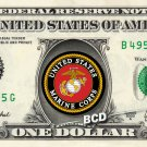 MARINE CORP on a REAL Dollar Bill Cash Money Collectible Military Badge Logo