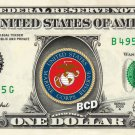 MARINE CORP RESERVE on a REAL Dollar Bill Cash Money Collectible Military Badge