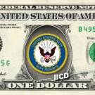 NAVY RESERVE on a REAL Dollar Bill Cash Money Collectible Military Badge Logo