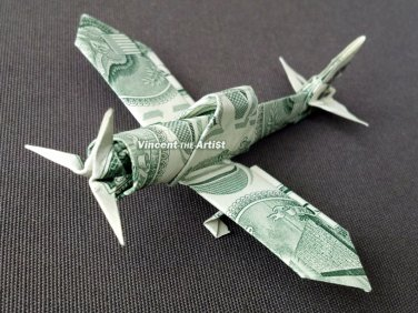 Zero Fighter Plane - Money Origami Dollar Bill Cash Sculptors Bank Note Handmade