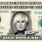 ANDY WARHOL on a REAL Dollar Bill Cash Money Memorabilia Collectible Celebrity
