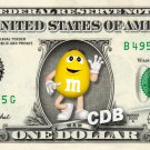 M&M YELLOW on a REAL Dollar Bill Cash Money Collectible Memorabilia Celebrity Novelty Bank Note