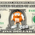 M&M ORANGE on REAL Dollar Bill Cash Money Collectible Memorabilia Celebrity Novelty Bank Note