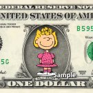 SALLY BROWN on a REAL Dollar Bill Charlie Brown Cash Money Collectible Memorabilia Celebrity