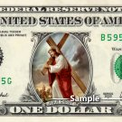 JESUS Carrying Cross on a REAL Dollar Bill Religion Christmas Cash Money Collectible Novelty Bank