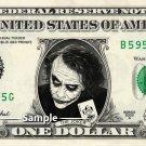 THE JOKER Dark Night Batman on a REAL Dollar Bill Cash Money Collectible Memorabilia
