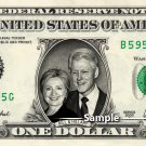 BILL & HILLARY CLINTON on a REAL Dollar Bill Cash Money Collectible Memorabilia Celebrity