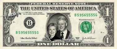 BILL & HILLARY CLINTON on a REAL Dollar Bill Cash Money Collectible Memorabilia Celebrity