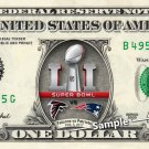 Super Bowl 51 Patriots vs Falcons 2017 REAL Dollar Bill NFL Football Cash Money